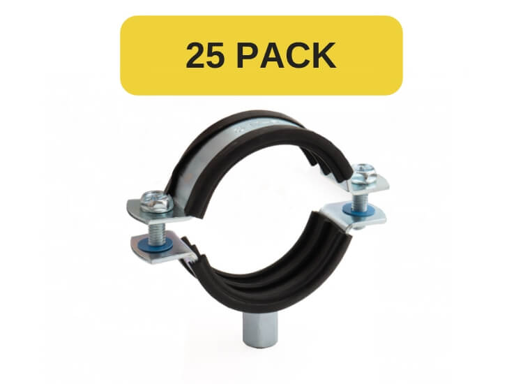 25 Pack of 40mm Rubber lined pipe clips BZP