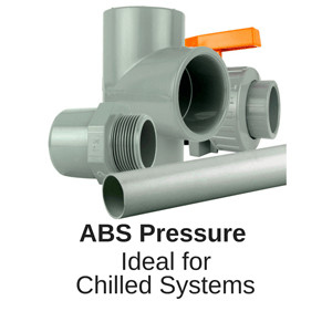 WRAS approved ABS Pressure Pipework for air and other gasses uses are low temperature glycol, cooling food and slurries