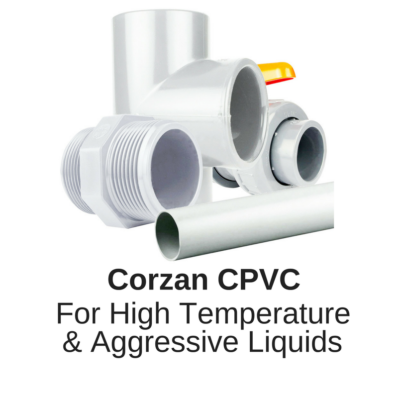 Corzan CPVC PVC-C for high temperatures up to 85 centigrade and aggressive chemcials