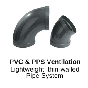 PVC-u Ventilation Pipe from HOKA and Beck for air and mixed gas extraction from fume cupboards laboratories and manufacturing