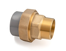 Inch ABS Plain to MBSP Brass Composite Union