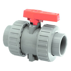 1/2 Inch CPVC Cement Sockets Union Industrial Ball Valve FPM Seals - PTFE Seats