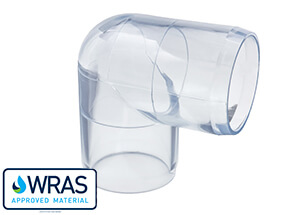 90 degree elbow for clear PVC pipe systems