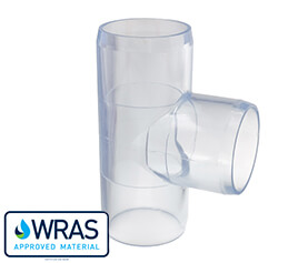 Tee piece for clear PVC pipe systems