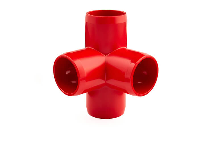 3/4 Inch Red 4-Way Elbow