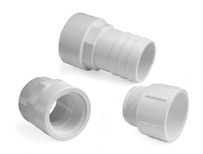 White PVC Inch Plain to Threaded Fittings for Swimming Pools