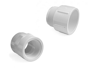 White SCH40 PVC Inch Adaptor Fittings