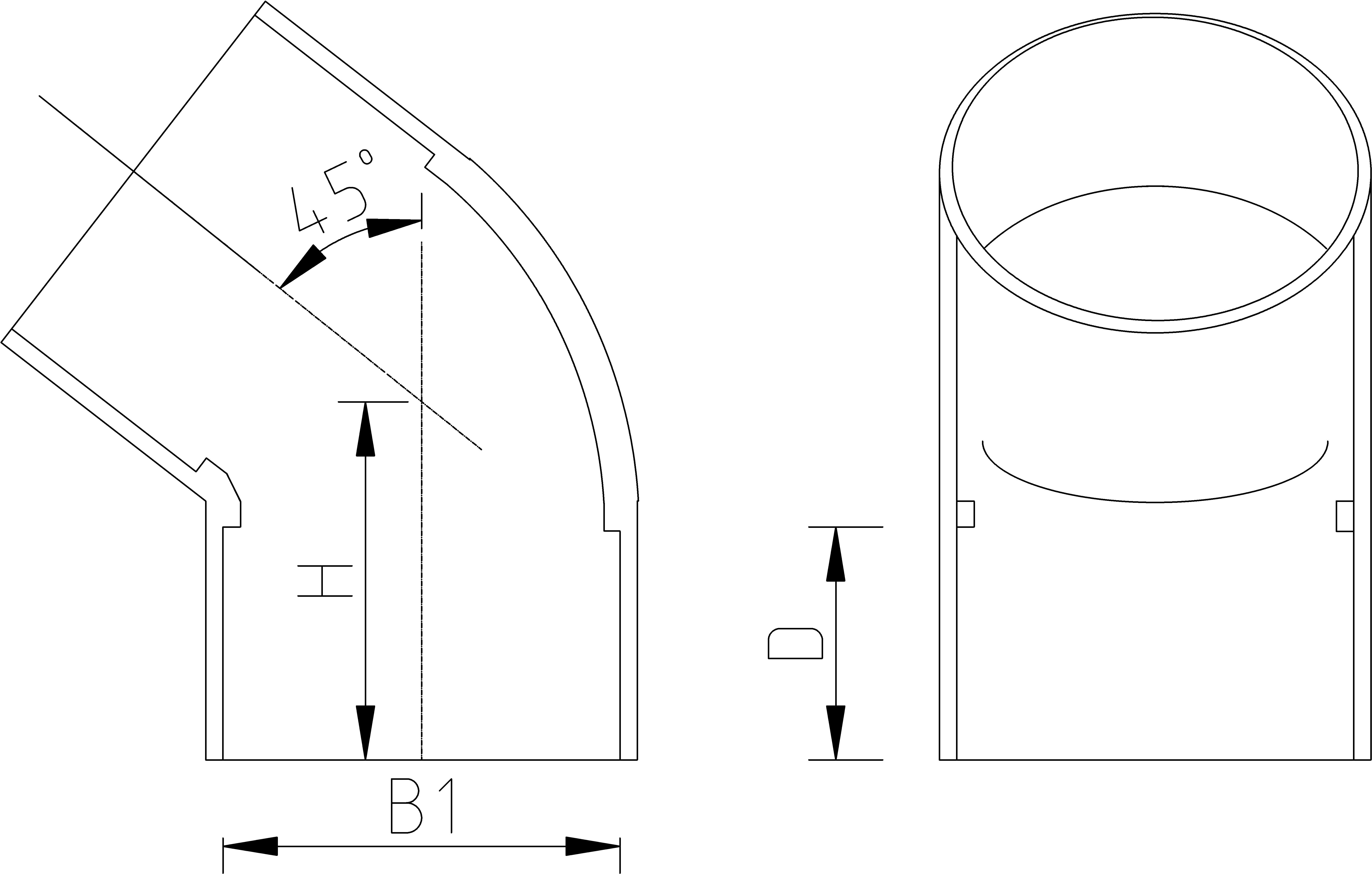 2 1/2 Inch 45 Elbow Dimensions Drawing