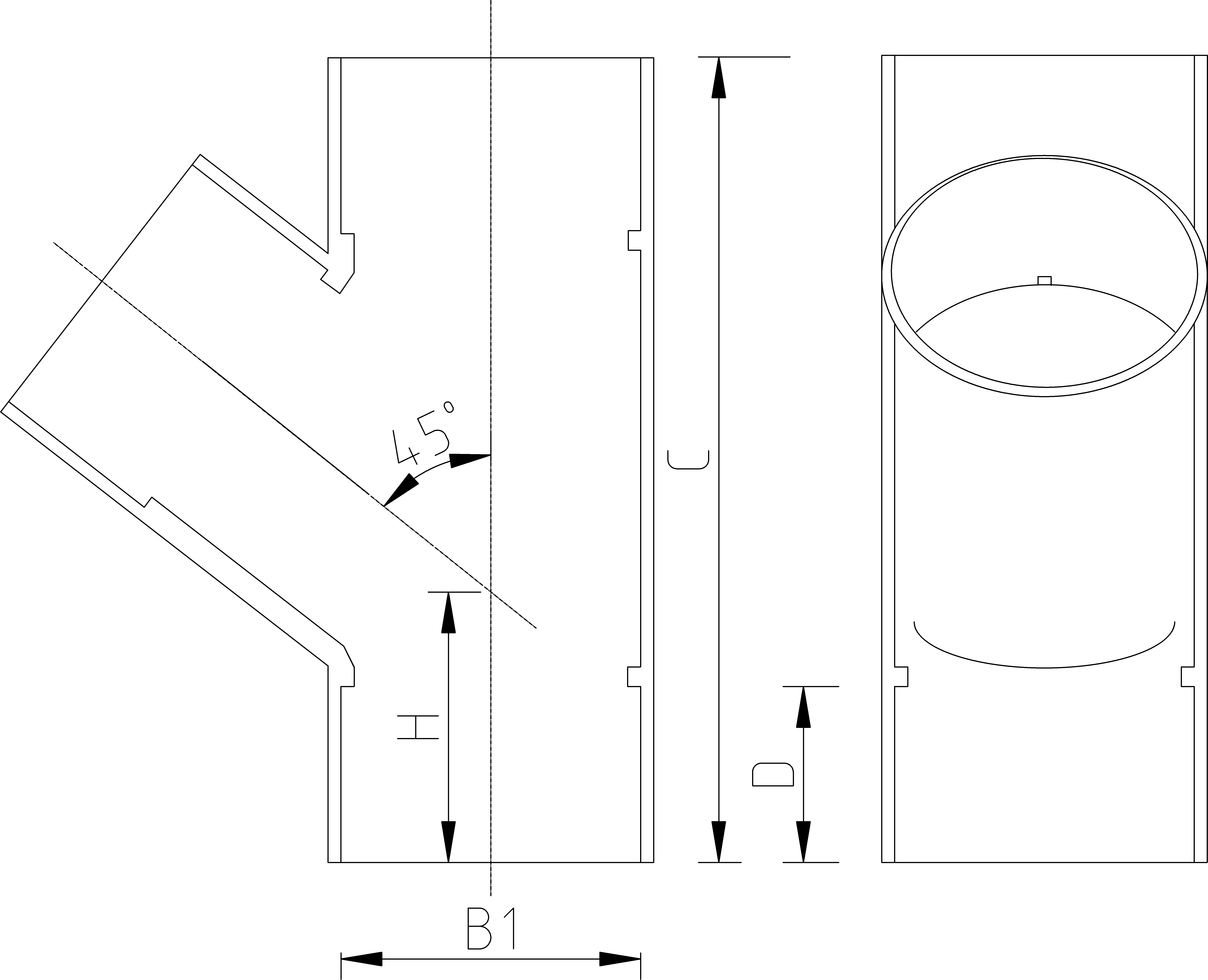 20mm 45 Tee Dimensions Drawing