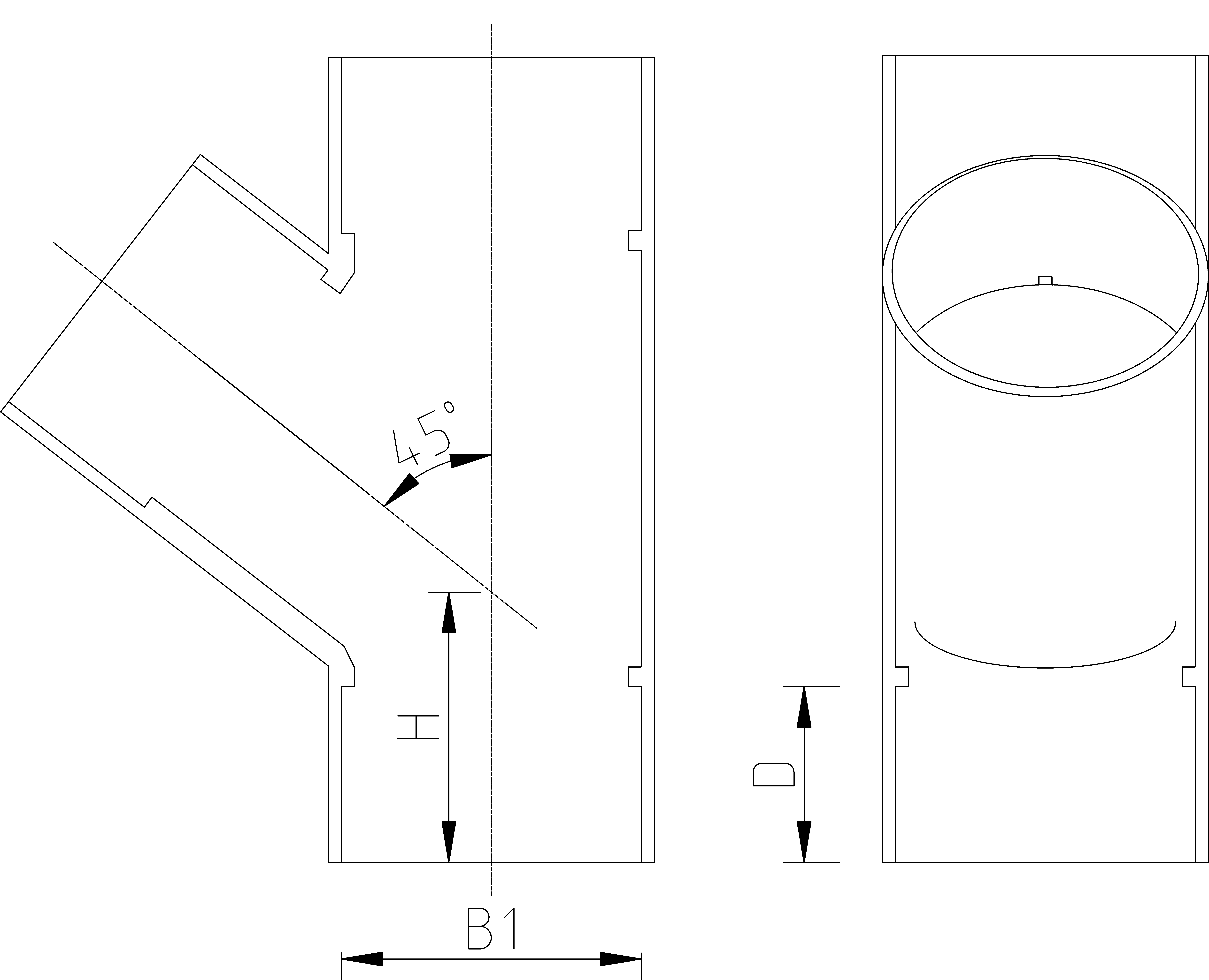 1 Inch 45 Tee Dimensions Drawing