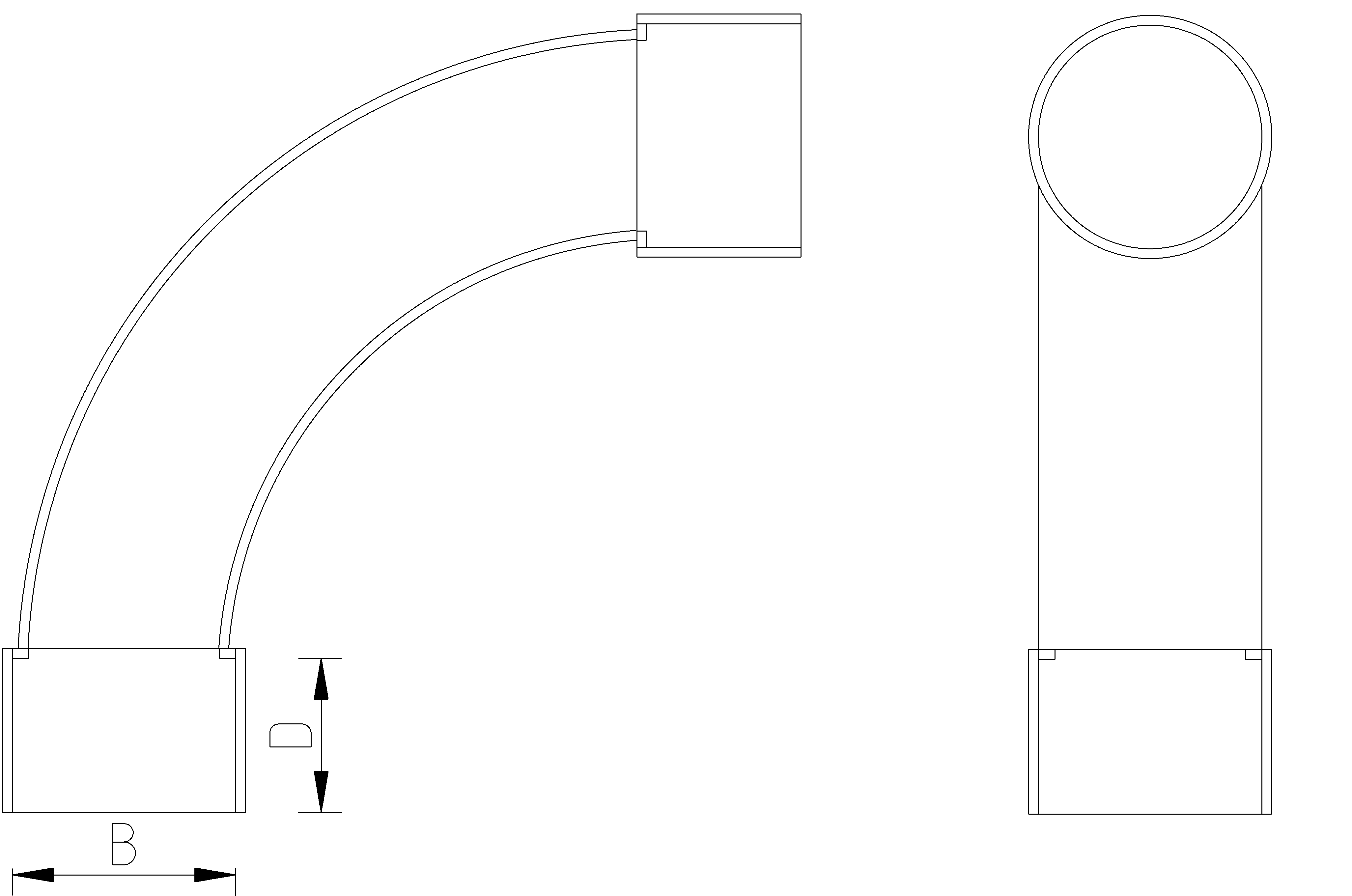 40mm 90 Bend Dimensions Drawing