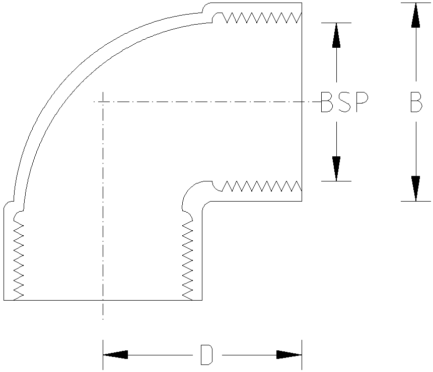 1 Inch BSP 90 Elbow Dimension Drawing