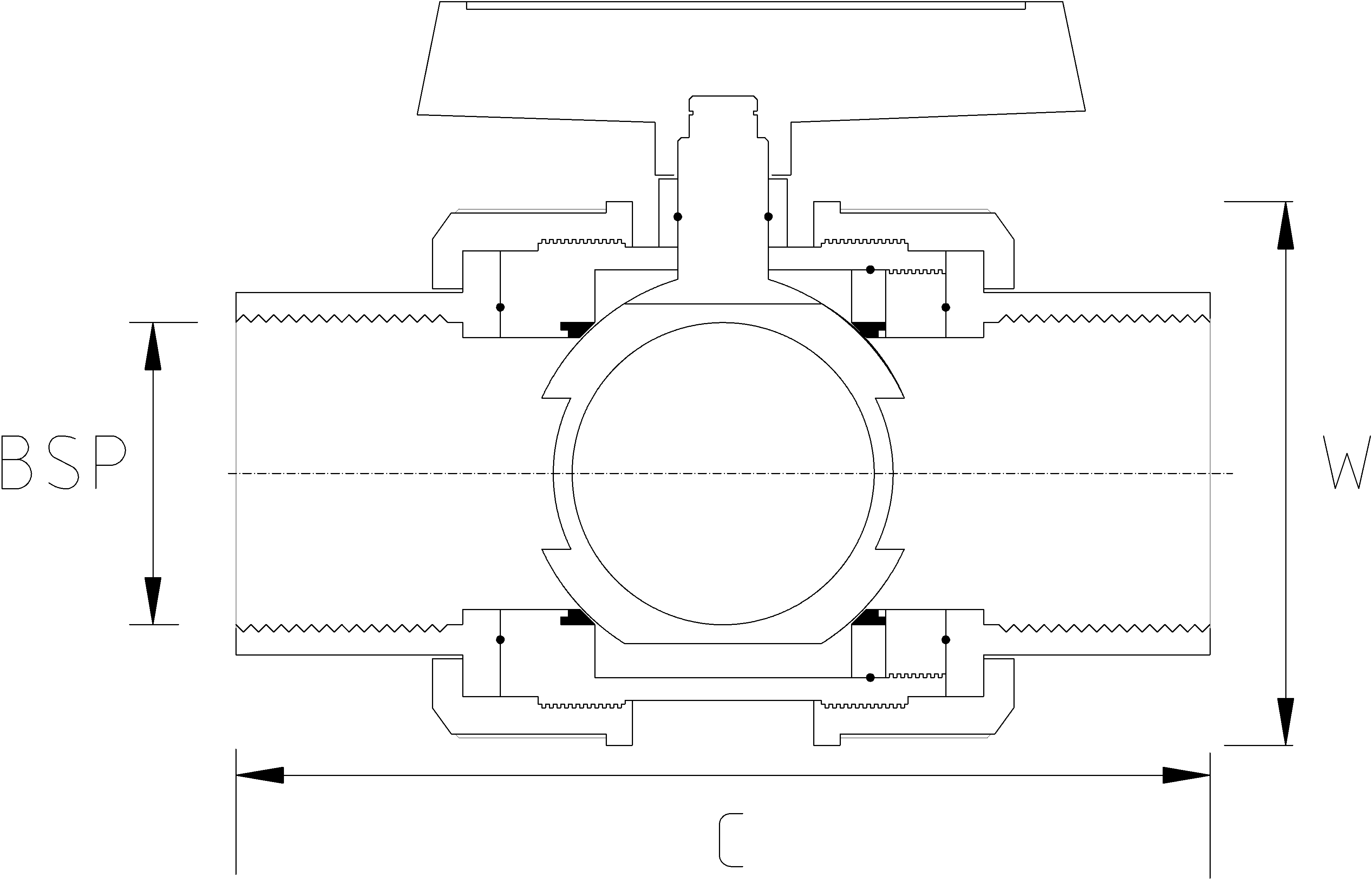 1 1/4 Inch Threaded Double Union Ball Valve Dimensions Drawing