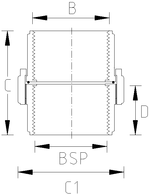1 Inch BSP Union Dimension Drawing