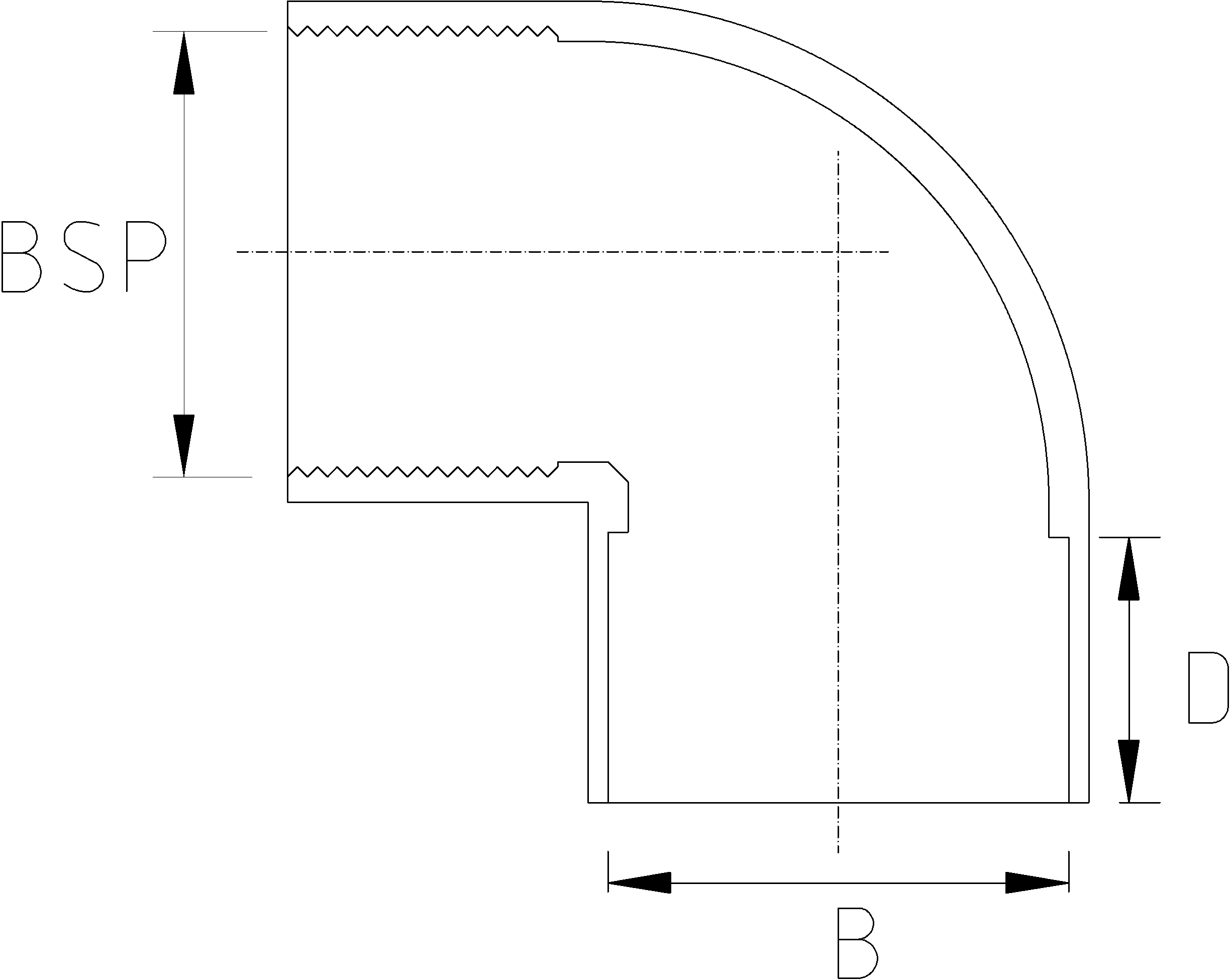 1 1/2 Inch BSP 90 Elbow Dimensions Drawing