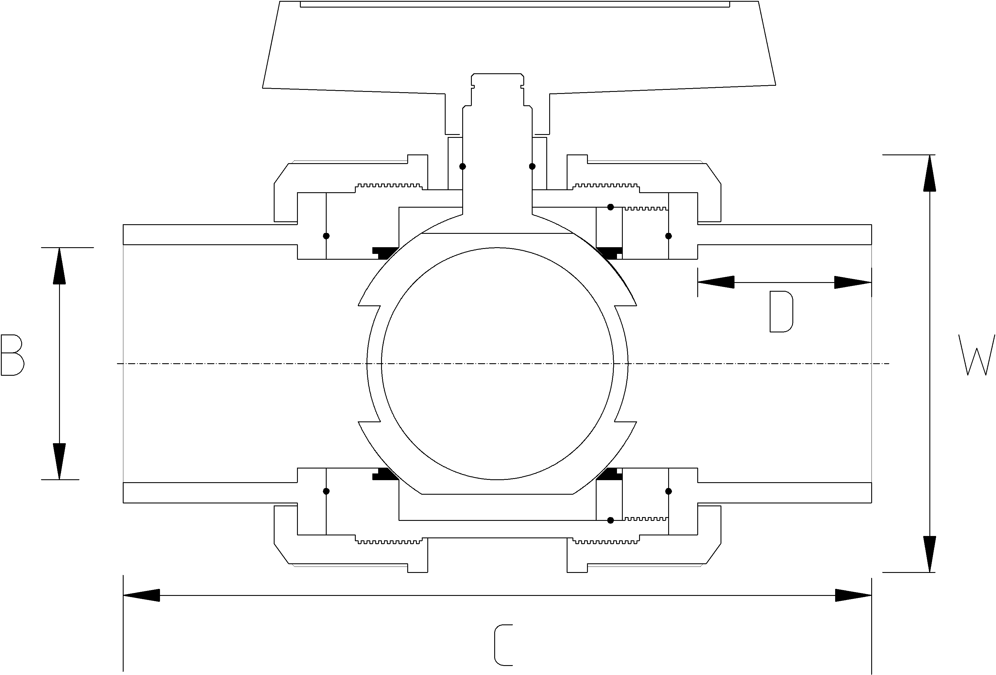 1 1/4 Inch Double Union Ball Valve Dimensions Drawing