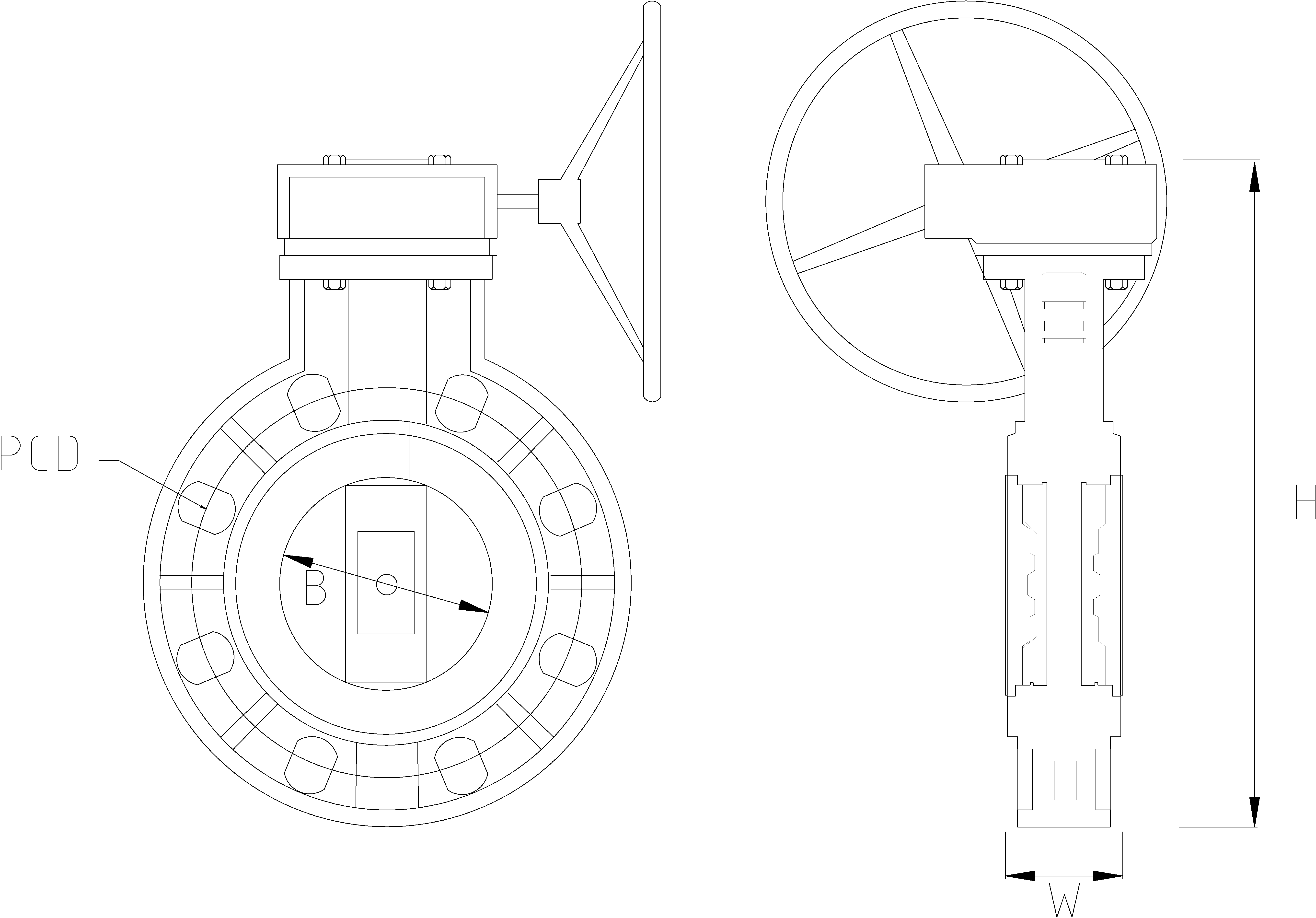 250mm Inch Gear Operated Butterfly Valve Dimensions Drawing