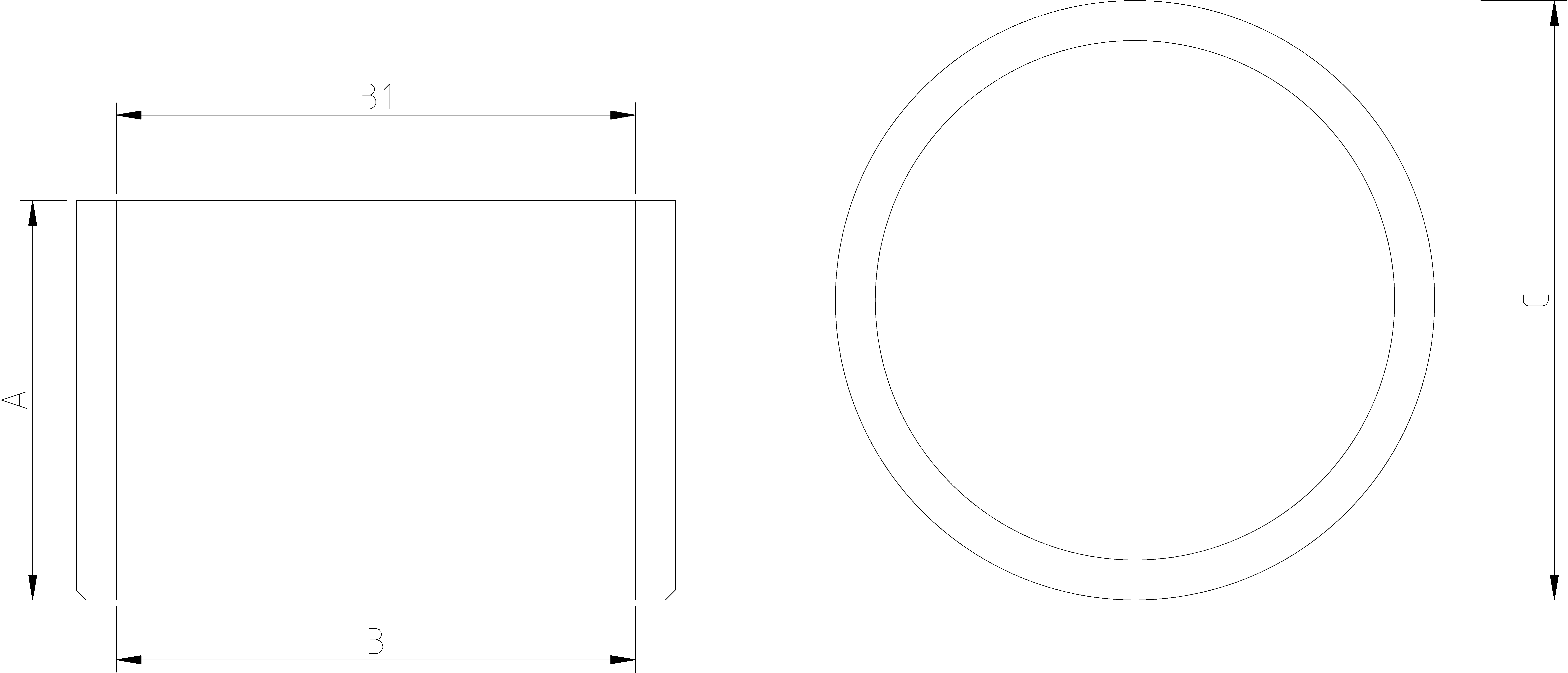 1/2 to 3-8 Inch Reducing Bush Dimensions Drawing