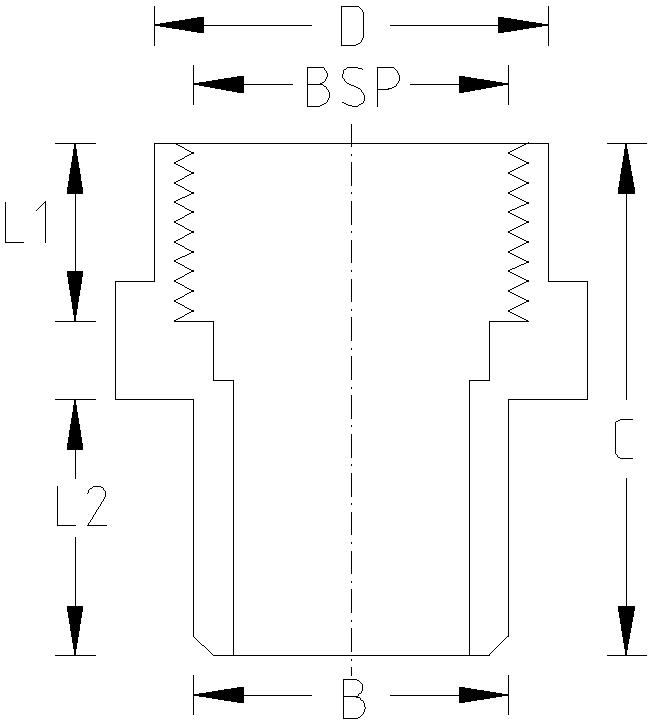 1 Inch PT Spigot Adaptor Dimension Drawing