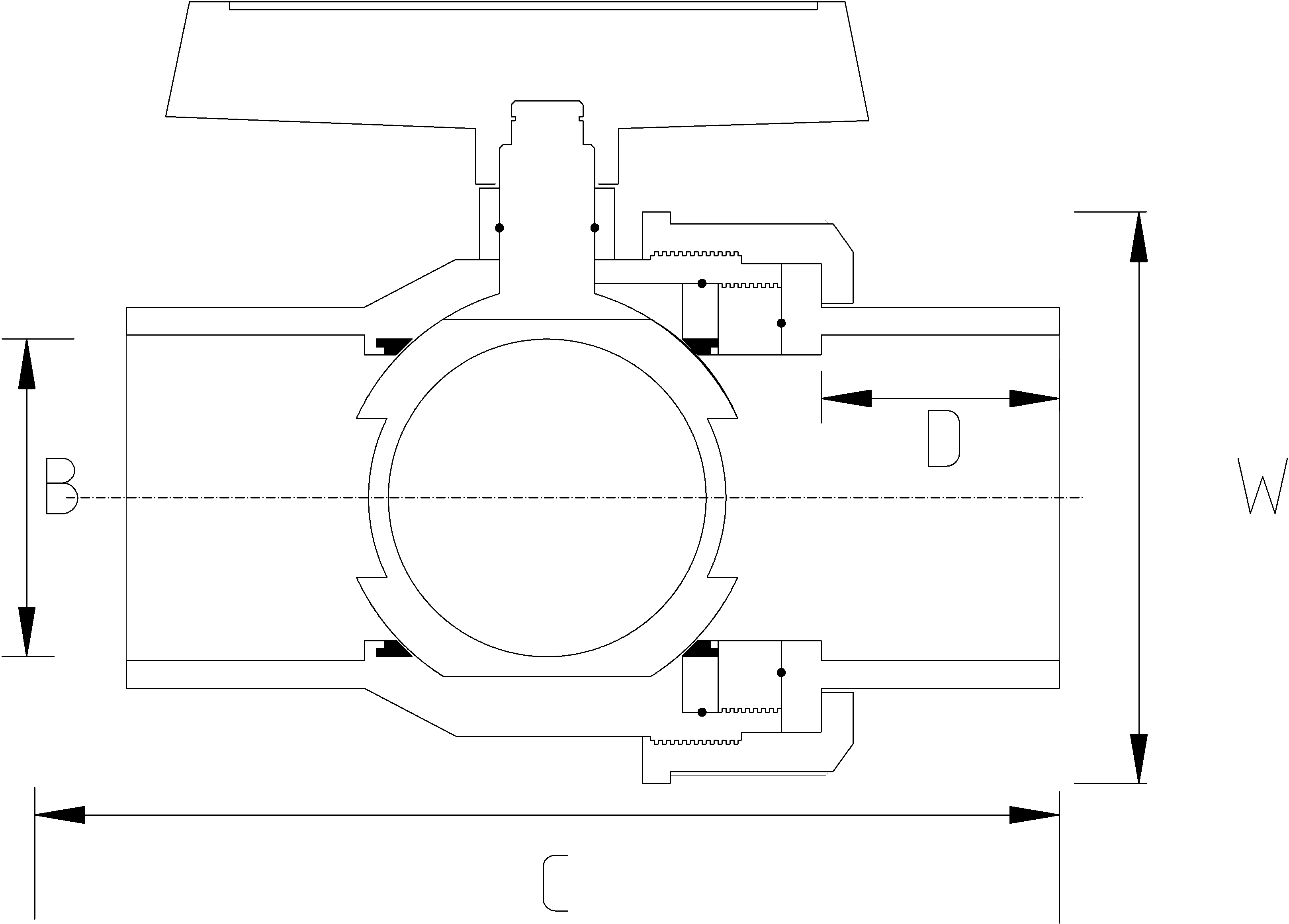 75mm Single Union Ball Valve Dimensions Drawing