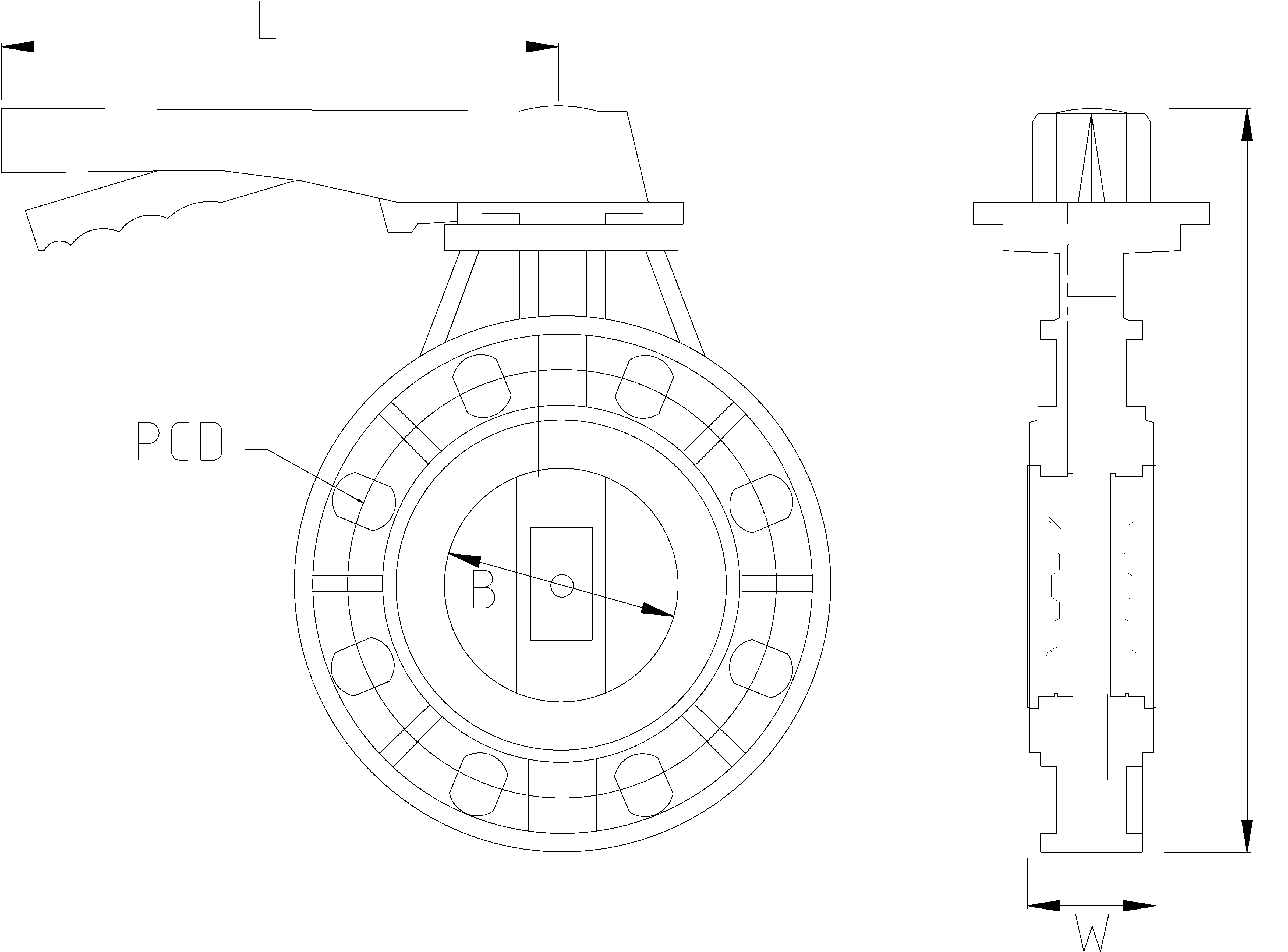 90mm Inch Butterfly Valve Dimensions Drawing