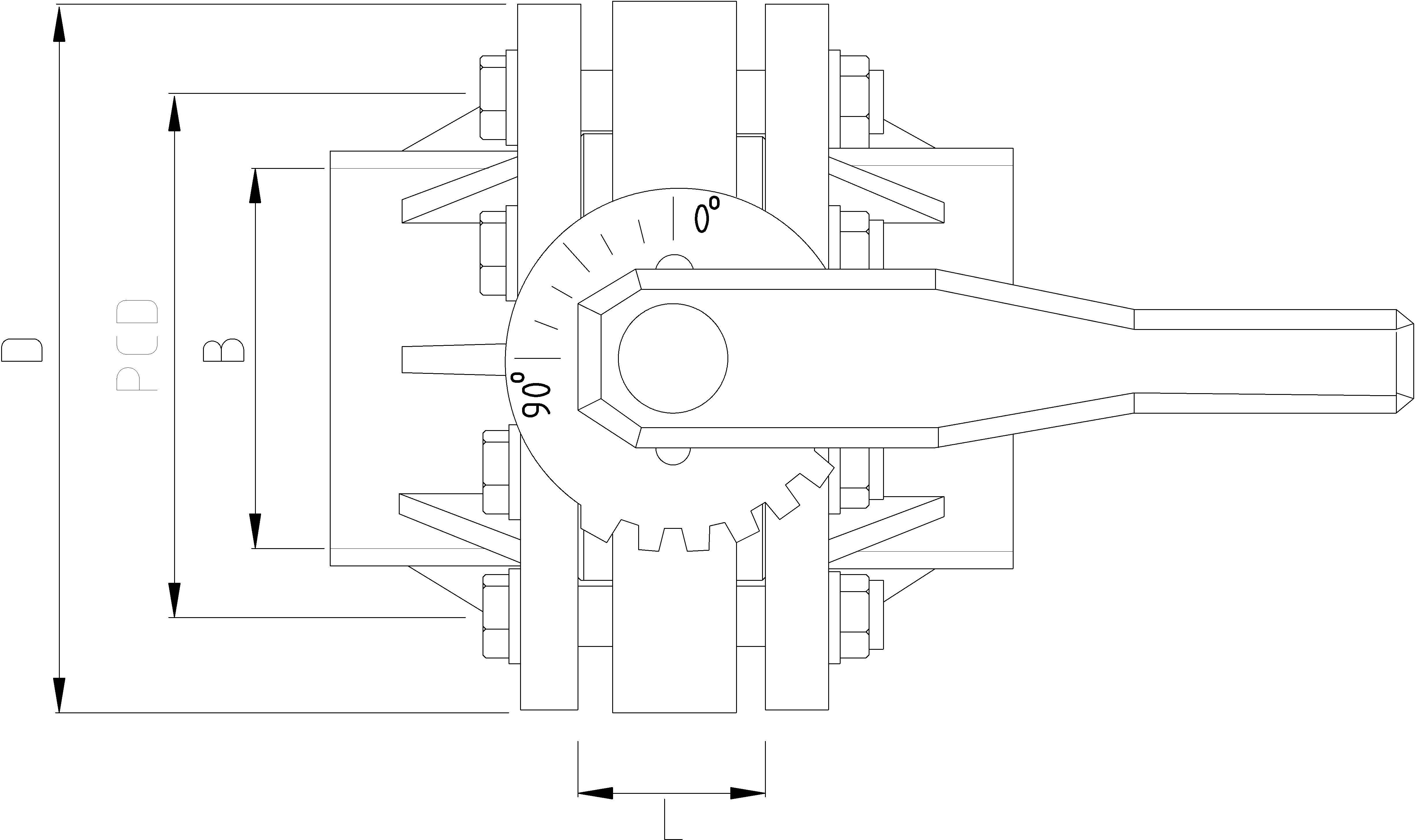 160mm Inch Butterfly Valve with Flanges Dimensions Drawing
