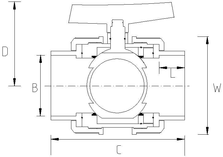 25mm Effast Double Union Ball Valve Dimensions Drawing