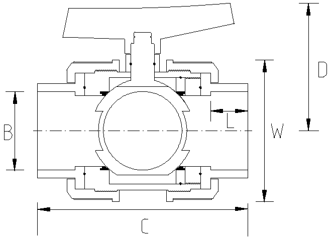 25mm Industrial Double Union Ball Valve Dimensions Drawing