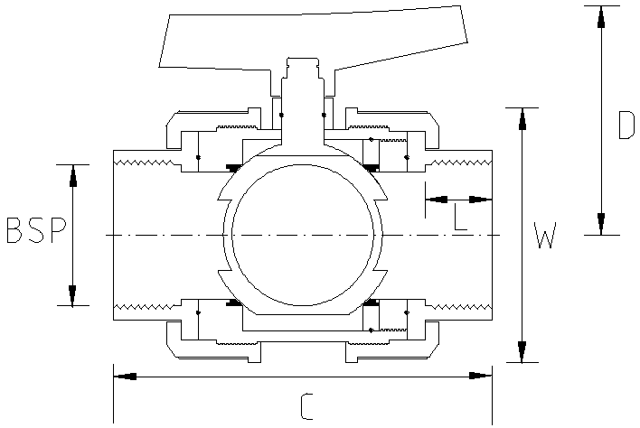 3 Inch Threaded Industrial Double Union Ball Valve Dimensions Drawing