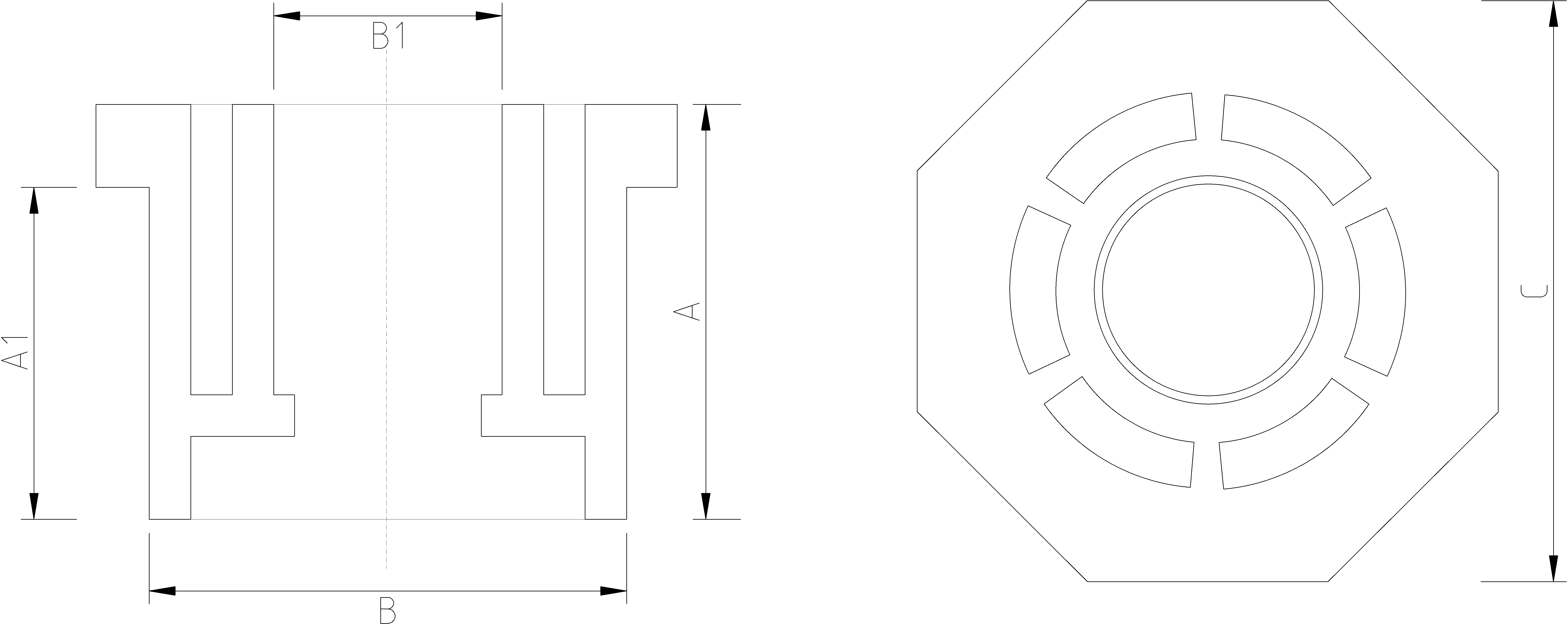 1 to 3/4 Inch Reducing Bush Dimensions Drawing
