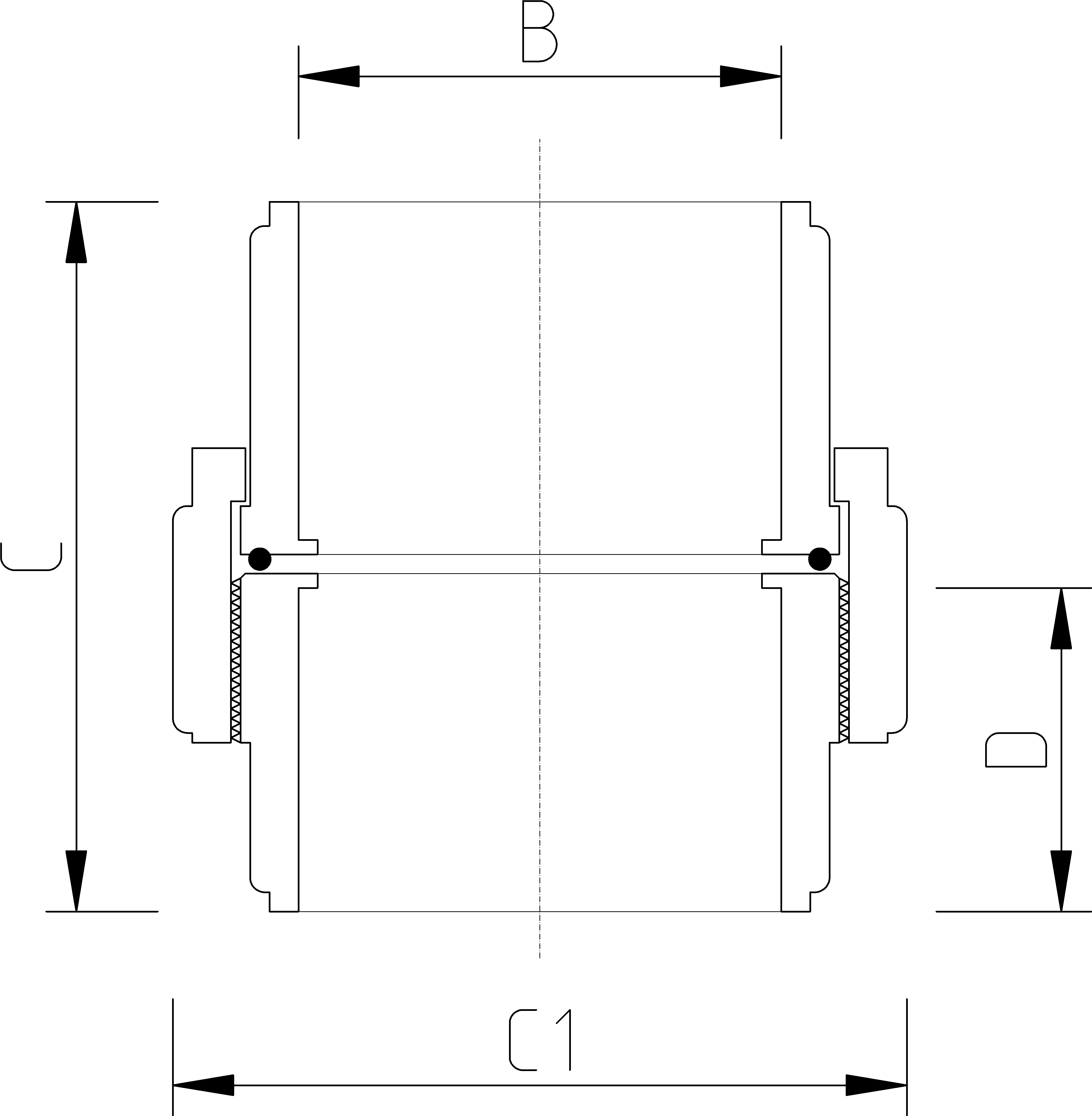 3/4 Inch Union Dimensions Drawing
