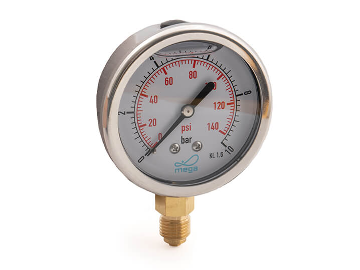 0 to 1-6 bar Glycerine filled pressure gauge