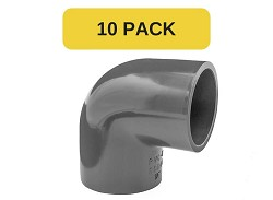 "10 Pack - 1/2"" Plain 90 Degree PVC Elbow"