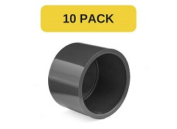 10 Pack - 200mm Plain PVC End Cap
