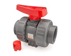 "2"" ABS Plain Double Union Ball Valve FPM"