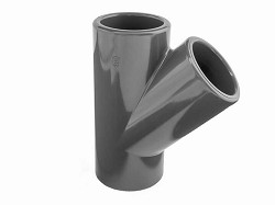 "1"" PVC Plain 45 degree Tee"