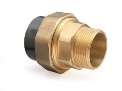 "40mm-1 1/4"" Plain PVC Socket : MBSP Brass Composite Union"