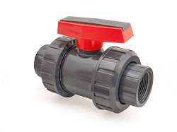 "1 1/2"" Plain x BSP Threaded Double Union PVC Ball Valve EPDM O-Rings"
